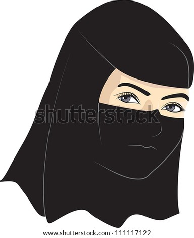 Young woman with veil over her head - stock vector