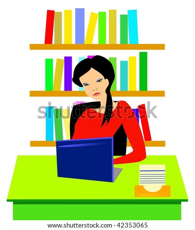 Young woman working at her desk - stock vector