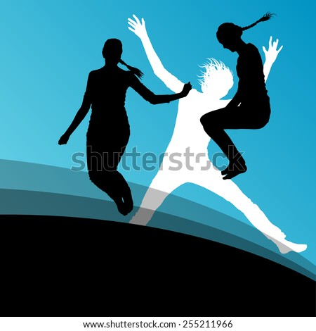 Young women active silhouettes jumping in the air abstract background vector illustration - stock vector