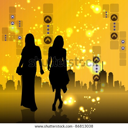 Young women and city in background - stock vector