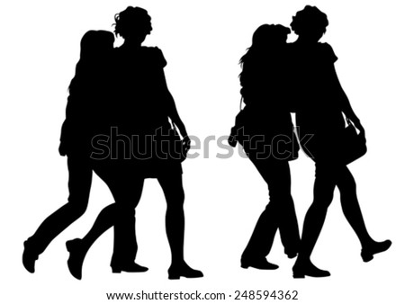 Young women in dress on white background - stock vector