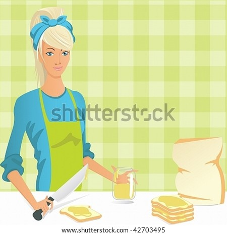 Young women prepares sandwiches with peanut butter for his family - stock vector