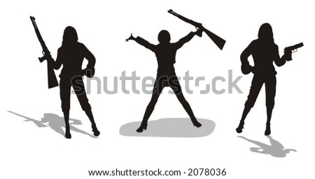young women with firearms - vector illustration - stock vector