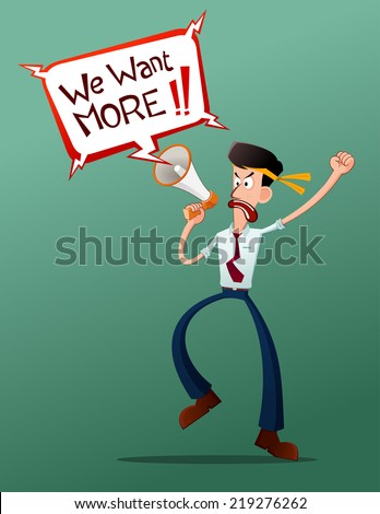 young worker acting protest and get shout with a megaphone - stock vector