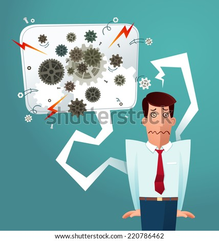 young worker get stressed for his overwork - stock vector