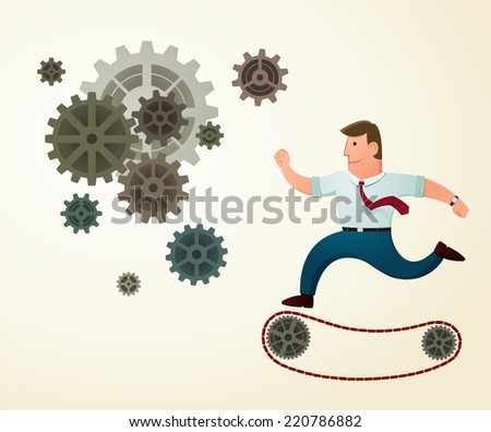 young worker smiling and enjoy his working - stock vector
