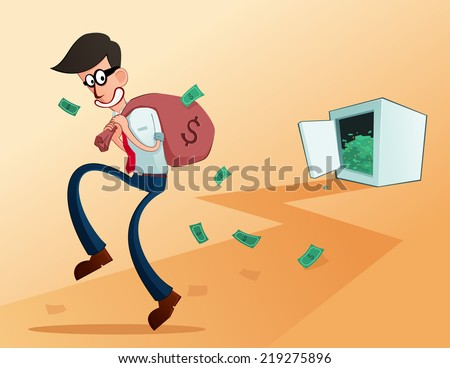 young worker stealing from his own company - stock vector