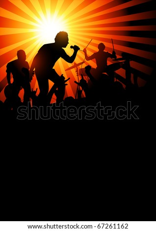 Your Band Background. Music band playing to a crowd of fans. Vector