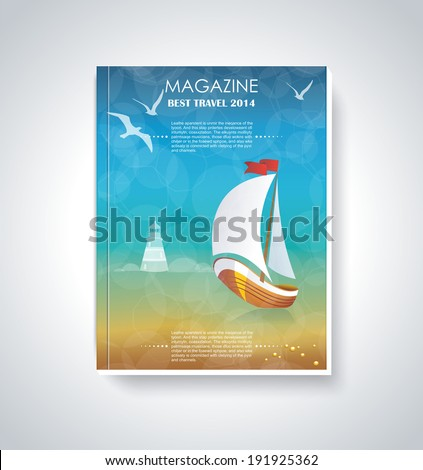Your best travel magazine. Brochure cover design. - stock vector