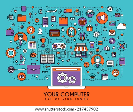 Your computer. Flat line icons set - stock vector