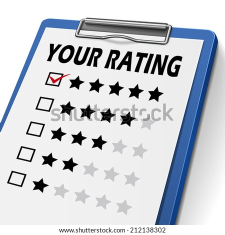 your rating clipboard with check boxes marked for stars - stock vector