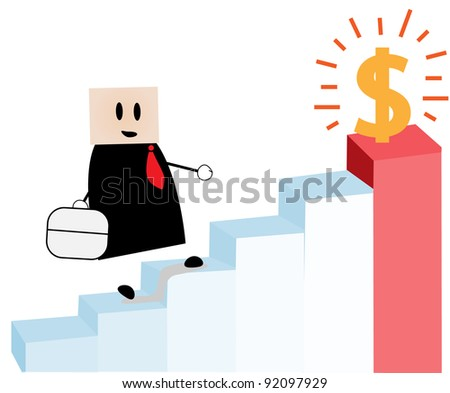 youth achieve the highest ladder with the dollar - stock vector