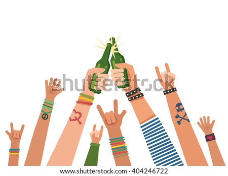 Youth crowd hands toasting with bottles of beer. Manifesting new generation crowd. A lot of hands of young people with different gestures. Vector colorful illustration in flat style isolated on white - stock vector
