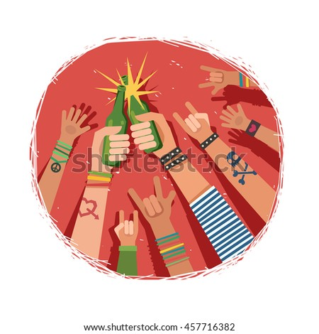 Youth crowd hands toasting with bottles of beer. Manifesting new generation crowd. A lot of hands of young people with different gestures. Vector colorful illustration in flat style on red background - stock vector