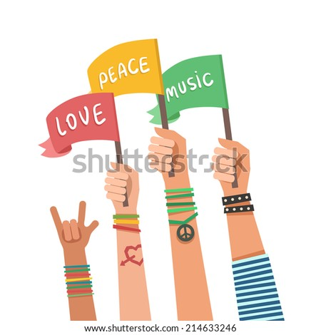 Youth crowd with colorful flags. Love, Peace, Music. Manifesting new generation crowd. Vector illustration in flat style - stock vector