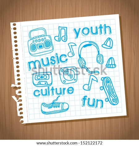 youth culture design over wooden background vector illustration  - stock vector