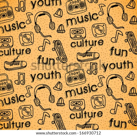 youth culture over rustic  background vector illustration - stock vector