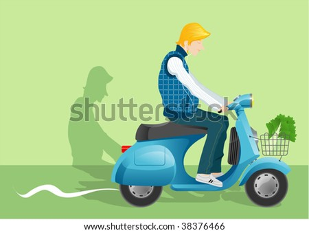 youth riding - stock vector