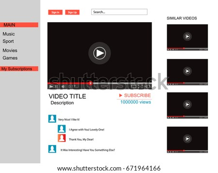 Youtube vector browser window video player stock vector 429524443 youtubector browser window with video player web site mock up user comments pronofoot35fo Images