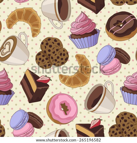 Yummy colorful chocolate cupcakes, cookies, pie, donuts and cups of coffee seamless pattern, light yellow - stock vector