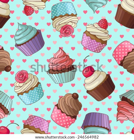 Yummy colorful cream cupcake seamless pattern with hearts, blue - stock vector