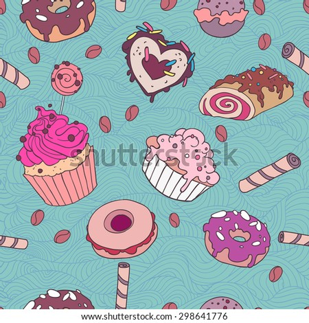 Yummy colorful sweet cake candy macaroon cupcake donut seamless pattern, in blue background - stock vector