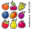 Yummy Fruits Icons - stock vector