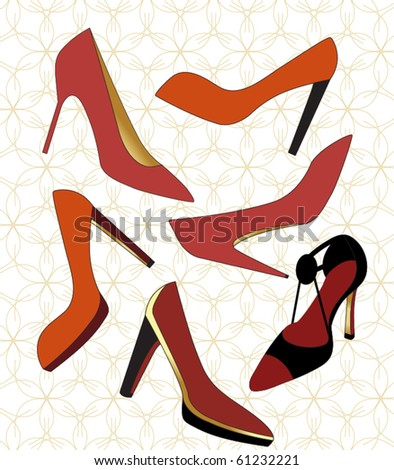 Yummy high heeled shoes - stock vector