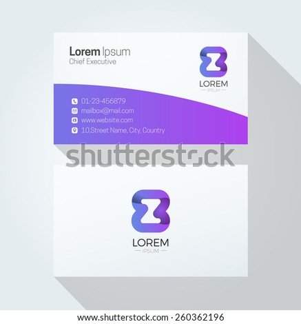 Z Letter Colorful Business card with 3d Logo - stock vector