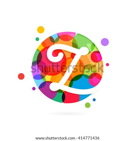 Z letter logo in circle with rainbow dots. Font style, vector design template elements for your application or corporate identity. - stock vector