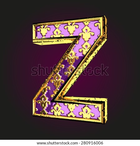 z vector violet letter with gold