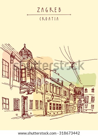 Zagreb, Croatia, Balkans, Europe. Old European city view. Colored hand drawn vintage postcard or poster in vector