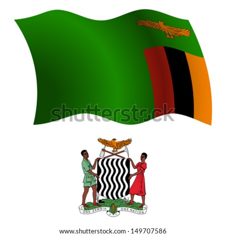 zambia wavy flag and coat of arm against white background, vector art illustration, image contains transparency - stock vector