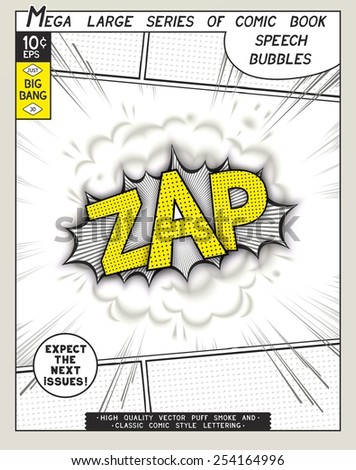 Zap. Explosion in comic style with lettering and realistic puffs smoke. 3D vector pop art speech bubble - stock vector
