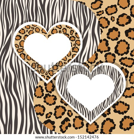 Zebra and Leopard. Contrasts animal patterns. Beloved hearts with form for your text or images. Vector illustration.   - stock vector