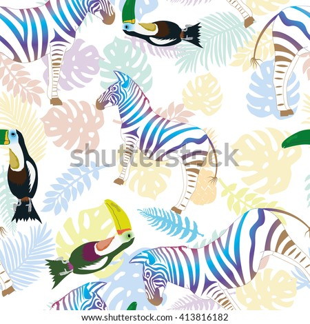 Zebra and toucan on the background of tropical leaves and pineapple. Vector, pattern - stock vector