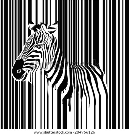 Zebra barcode vector illustration, abstract wild animal in black and white - stock vector