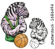 Zebra Basketball Mascot. Great for t-shirt designs, school mascot logo and any other design work. Ready for vinyl cutting. - stock vector