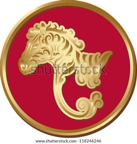 Zebra coin.  Animal with golden floral ornament decoration - stock vector