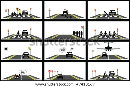 Zebra crossing collection with various road related themes - stock vector