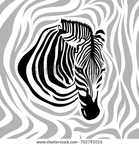 Zebra couple santa hat snow merry stock vector 728898151 zebra head seamless pattern black gray and white strips vector illustration isolated on pronofoot35fo Gallery