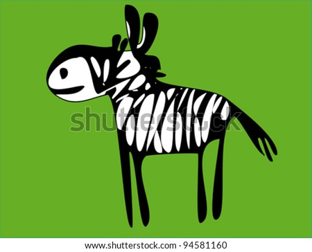 Zebra on green background - stock vector