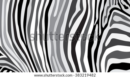 Zebra pattern created from grey and black colour, illustration - stock vector