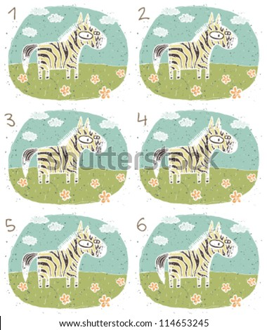 Zebra Puzzle ... Task: Find two identical images (match the pair)! ... Answer: No. 1 and 4