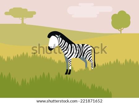 Zebra savanna flat design cartoon vector wild animals. Flat zoo children collection. - stock vector