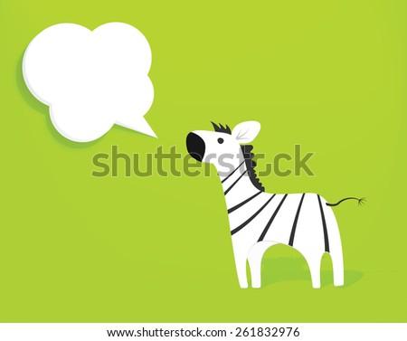 zebra with speech bubble - stock vector