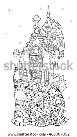 Coloring page oriental temple japanese chinese stock for Thin line tattoo artists near me