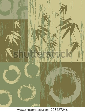Zen circle and bamboo silhouette over vintage green texture poster background. Decorative oriental art patchwork. - stock vector