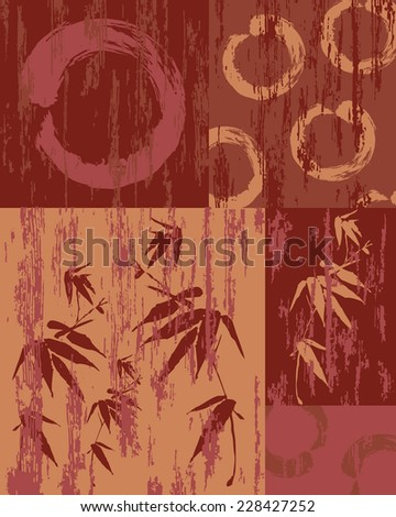 Zen circle and bamboo silhouette over vintage wood patchwork poster background. Useful for decorative art or textile print pattern. - stock vector