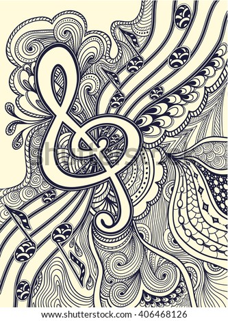 Zen-doodle treble clef  notes  musical stanza with Zen-tangle ornament style  black on white for coloring page or relax coloring book or wallpaper or for decorate package clothes or for Post Card - stock vector